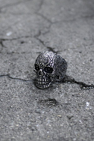 ByTheR Oriental Pattern Skull Silver Ring