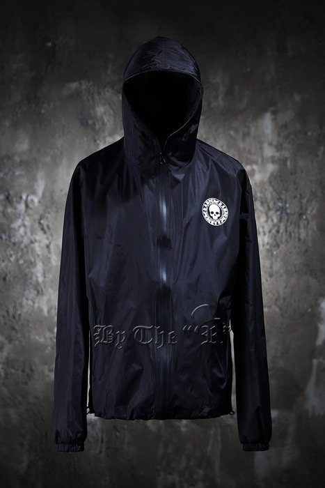 ByTheR Skull Logo Print Black Windbreaker