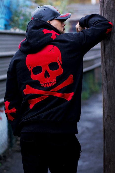 ByTheR Red Cross & Skull Zip-up Hoodie