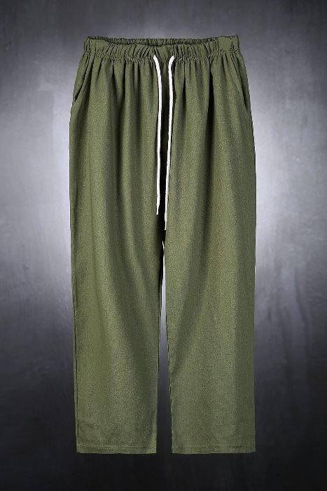 Linen Crop Wide Waistbending Pants