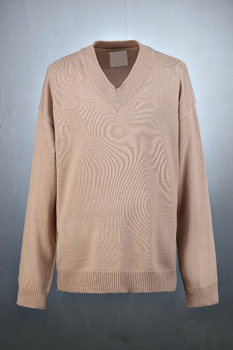 Loose Fit V-neck Color Knit Sweatshirts