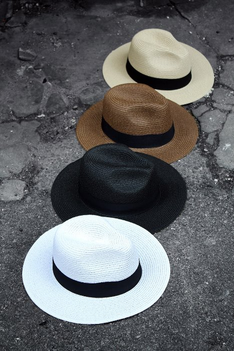 ByTheR Dark Ribbon Straw Panama Fedora Hat