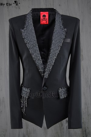 ByTheR Custom Stud Luxury Slim Short Blazer