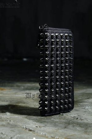 Hard Studded Custom Black Faux Leather Wallet