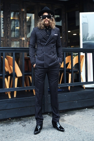 Pencil Stripe Pattern Deep Black Double Breasted Suit Set