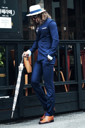 Pencil Stripe Pattern Navy Double Breasted Suit Set