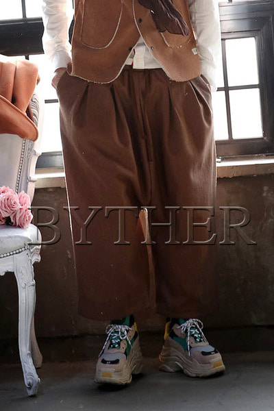 Wool Wide Baggy Pants