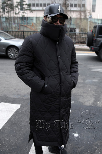 ByTheR Muffler Quilted Neck Long Padded Jacket