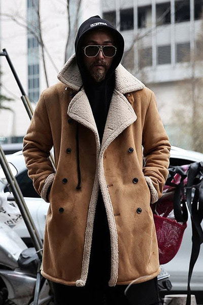 Beige Double Button Line Shearling Coat