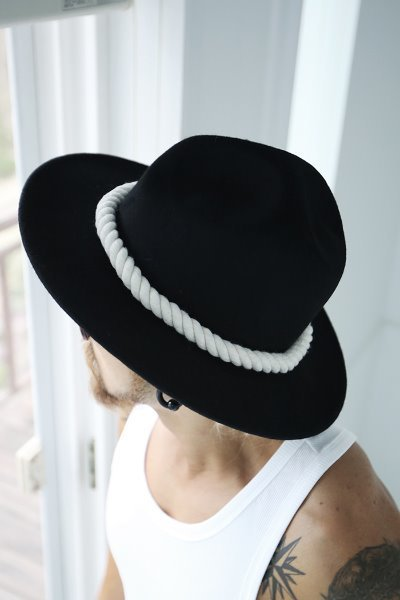 ByTher Dark Rope Decoration Mountain Fedora Hat