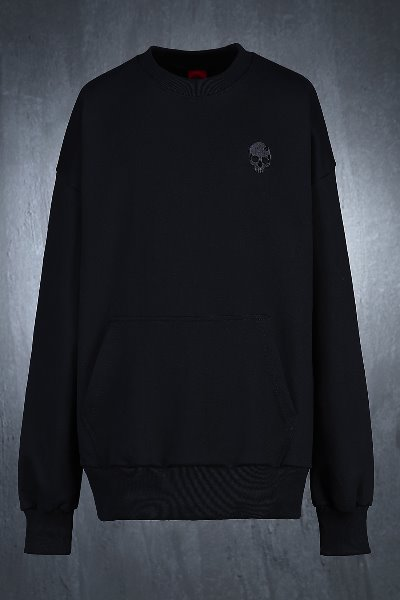 ByTheR Skull Embroidered Relaxed Fit Sweatshirt