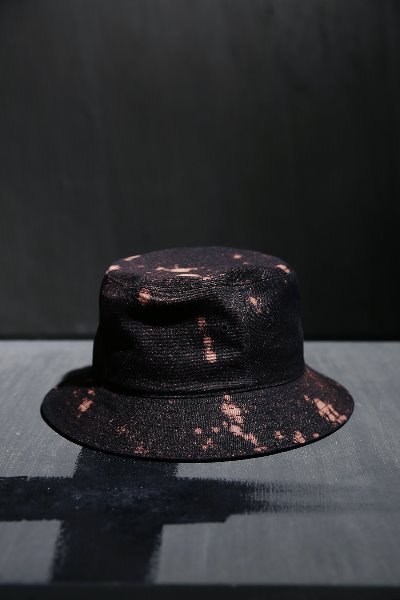 ByTheR Custom Dot Bleach Cotton Bucket Hat Black