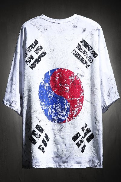 ByTheR Custom Rough Painting Korea Taegeukgi Short-sleeved White