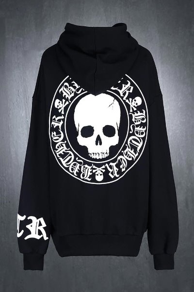 ByTheR Skull Logo Embossed Relaxed Fit Hoodie Black