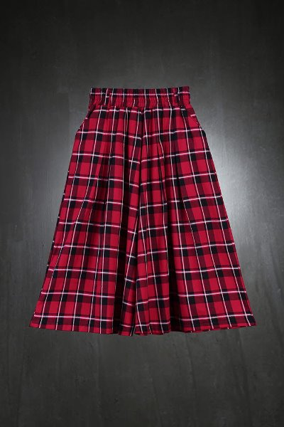 ByTheR Check Pattern Skirt Trousers Red