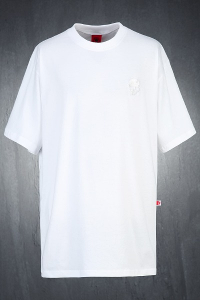 ByTheR Skull Embroidery Loose Fit Short Sleeve Tee White