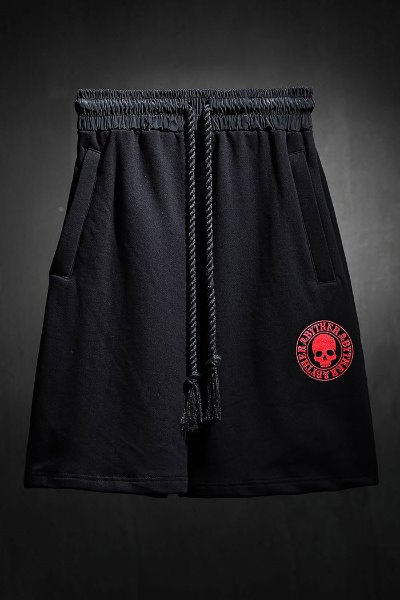 ByTheR red skull logo loose-fit shorts