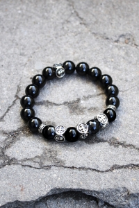 ByTheR Black Beads Silver Coated Cross Detail Bracelet