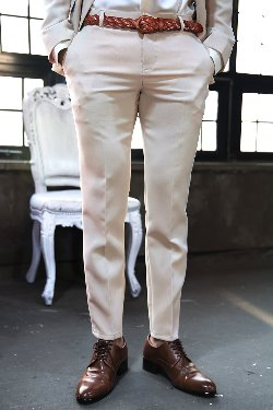 Beige Basic Slim Straight Slack Pants