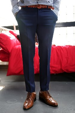 Navy Slim Straight Slacks Pants
