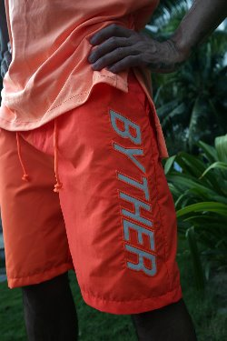 ByTheR Lettering Scotch Reflective Neon Beach Shorts