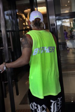 ByTheR Neon Lettering Scotch Reflective Tank Top