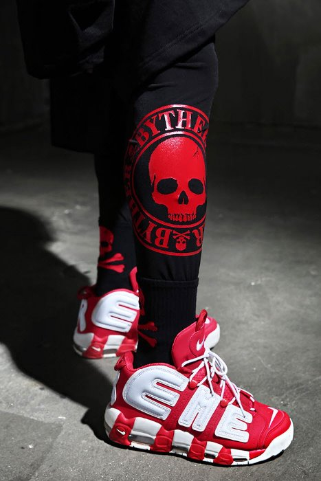ByTheR red skull logo print leggings