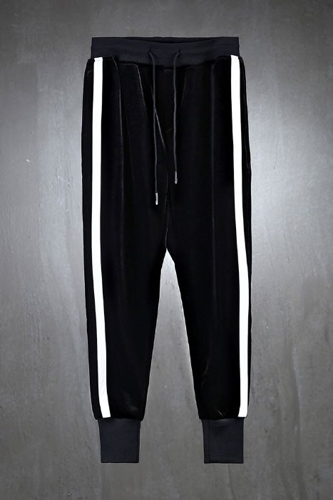 Side line velvet jogger trousers
