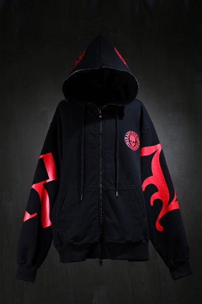 JacketByTheR Skull Lettering Red Hooded Zip-Up