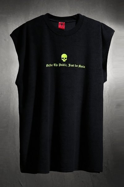ByTheR Cotton Terry Sleeveless-T with Skull & Lettering